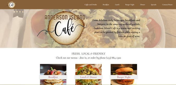 Anderson Island Cafe responsive web site